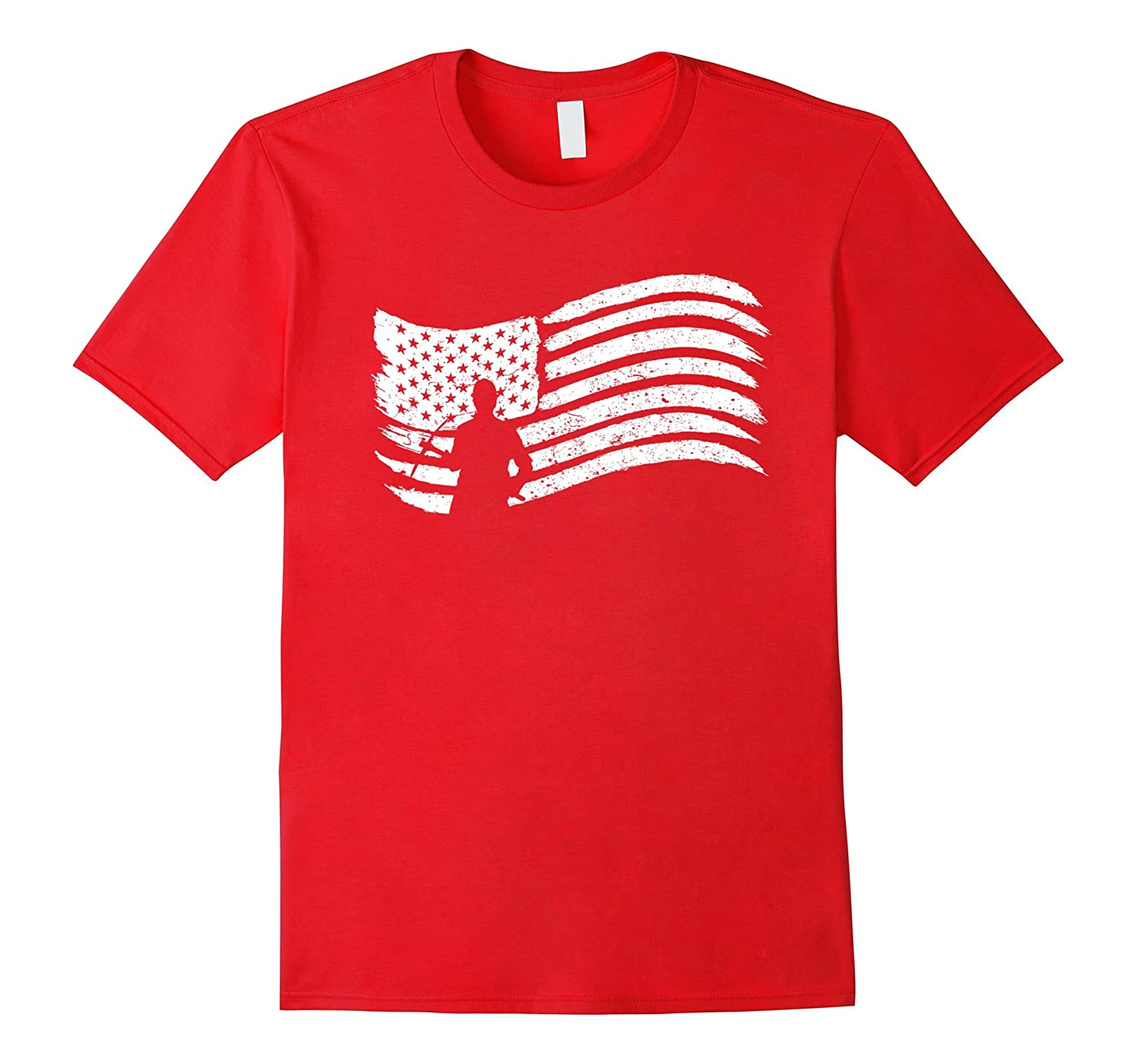 American Flag T-Shirt With Construction Worker With Pick-TJ