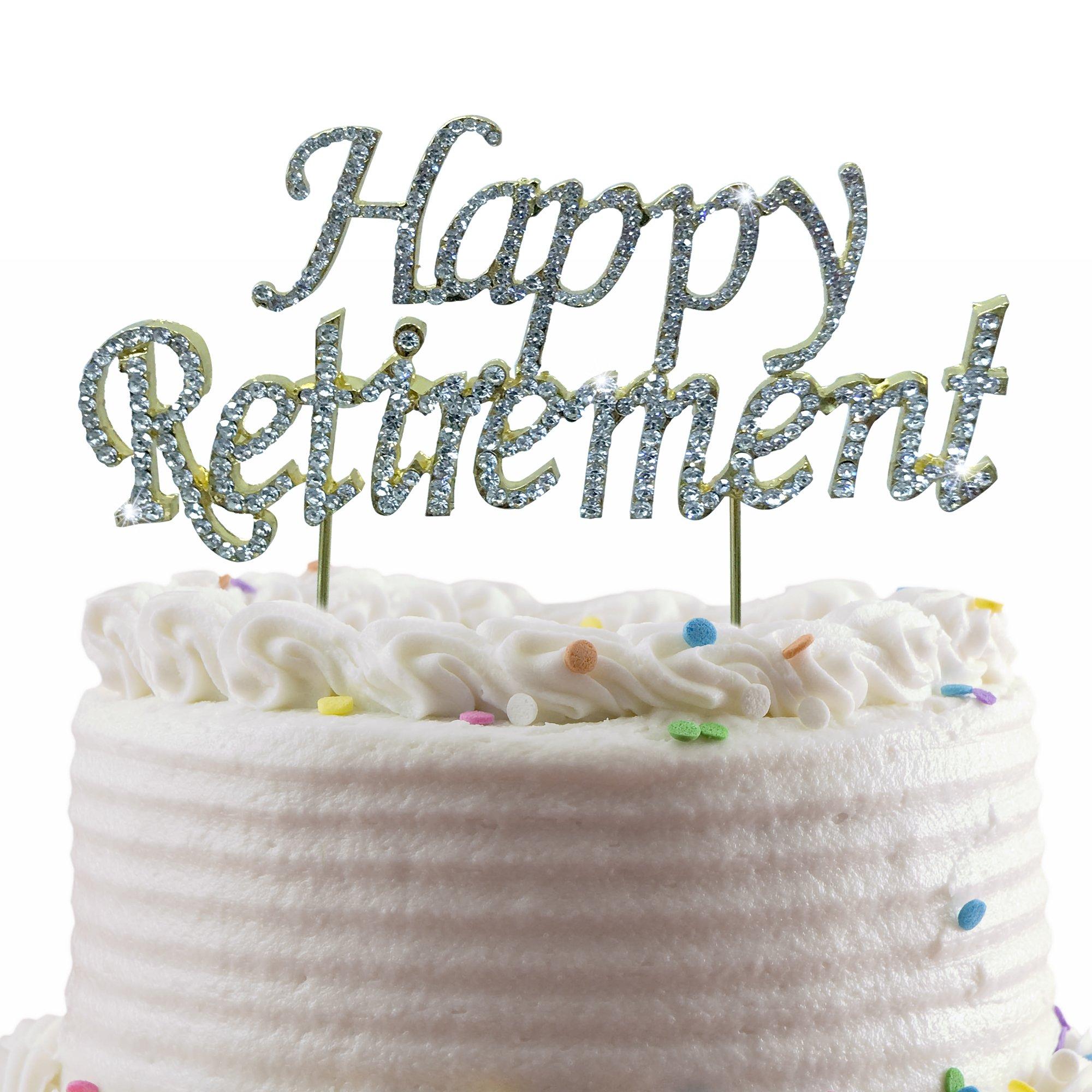JennyGems Happy Retirement Cake Topper - Sparkling Rhinestones With Gold Trim - Retirement Party Decoration
