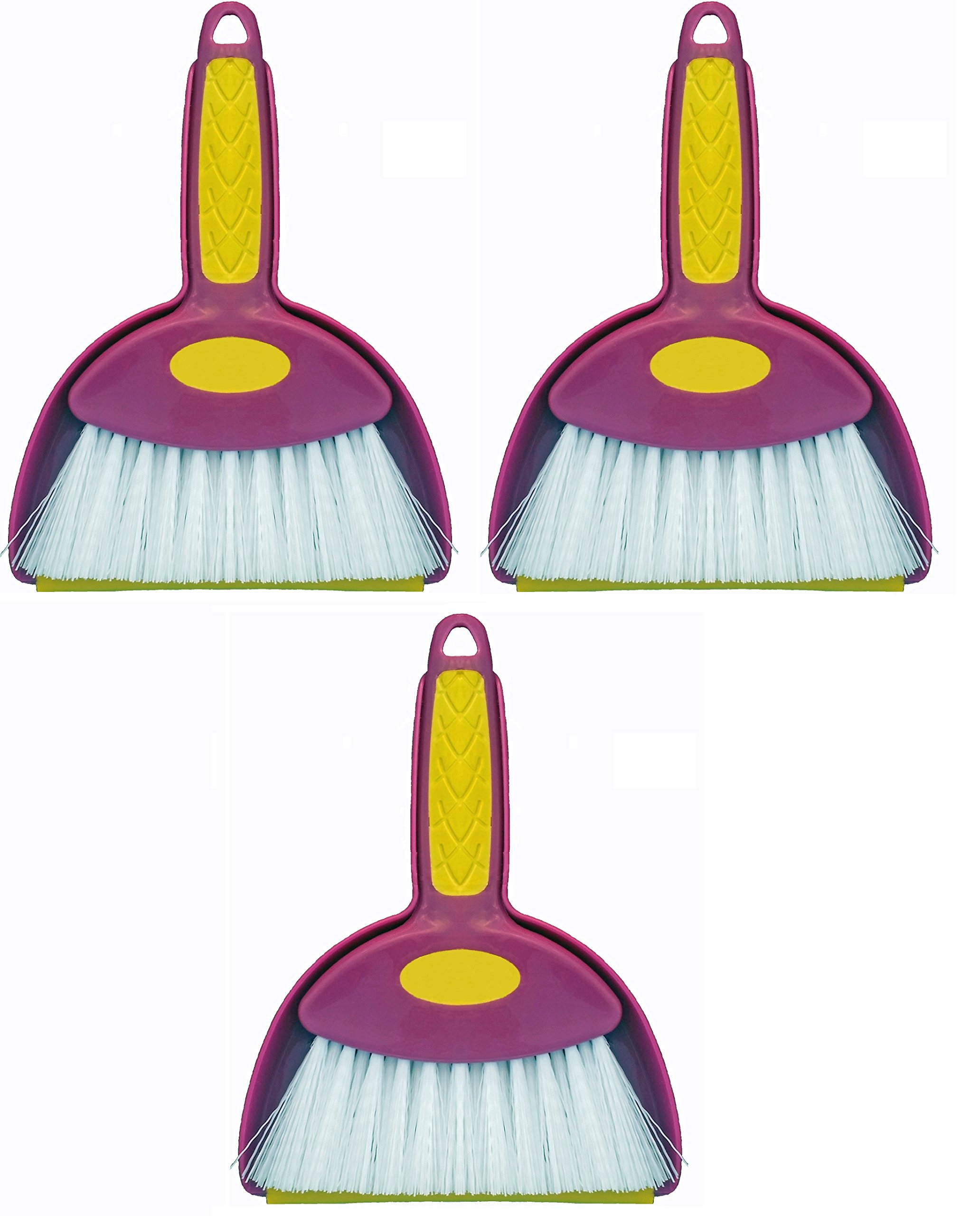 Mini Hand Whisk Broom and Snap-on Dustpan Set Available in Various Package Quantities (3, Small)