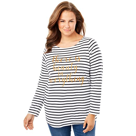 150108f91be Woman Within Plus Size Long Sleeve Graphic Tee at Amazon Women s Clothing  store