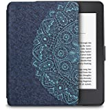 Walnew Amazon Kindle Paperwhite Case Lightest and Thinnest Premium Leather Smart Protective Cover for Kindle Paperwhite with Auto Wake/Sleep Function, Blue Flower