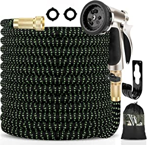 Haliluya Expandable Garden Hose 50ft , Flexible Water Hose with Zinc Alloy 9 Function Spray Nozzle & 4 Layers Latex Inner, No Kink Lightweight Gardening Hose with 3/4