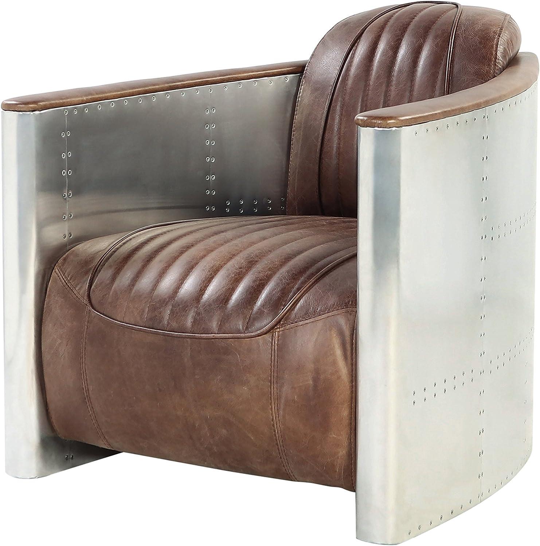 ACME Furniture AC- Sofa, Retro Brown TG Leather & Aluminum