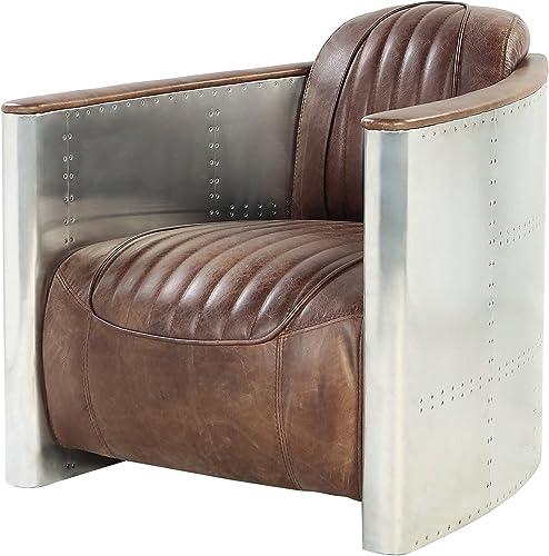 ACME Furniture AC- Sofa, Retro Brown TG Leather Aluminum