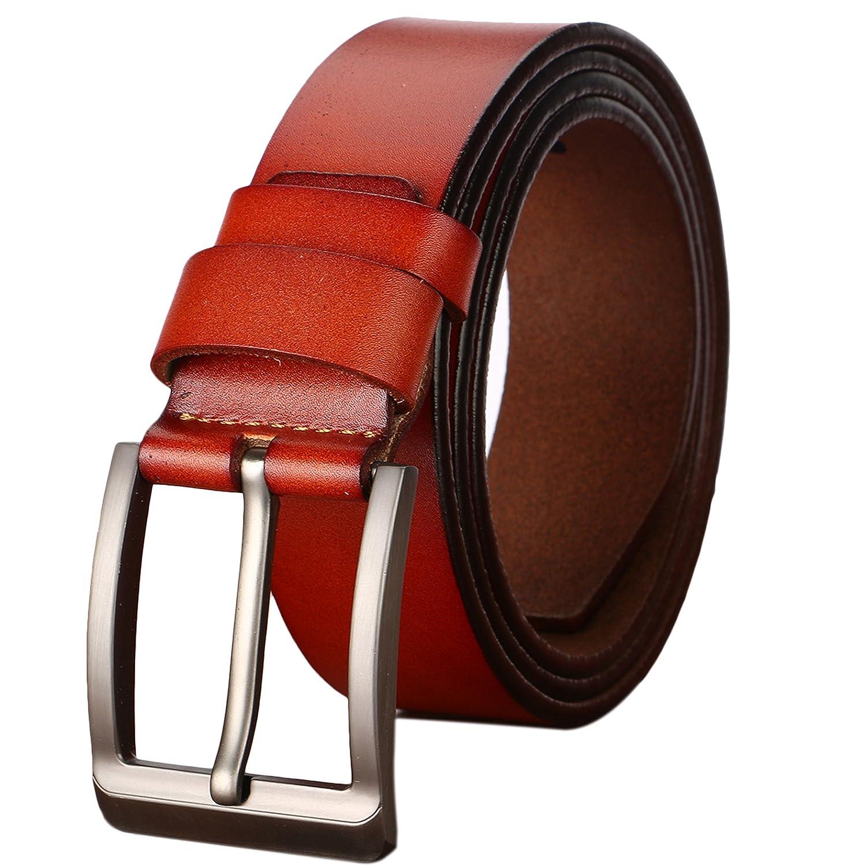 Gifny Men's belt Cowhide Genuine Leather Belt for Men 1 1/2 38mm Trim to Fit
