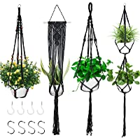 Macrame Plant Hangers 4 Pack Handmade Hanging Plant Holder with 8 Pcs Hooks Planter Hanger Flower Pots Holder Stand with…