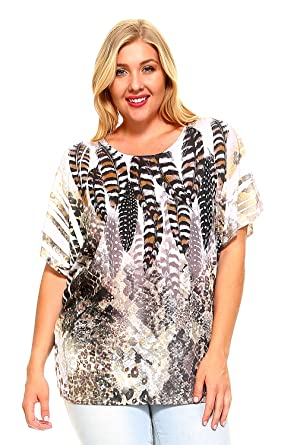 ebdeab1a Women's Plus Size Scoop Neck Fashion T-Shirt Sublimation Print Top Tee (1X-