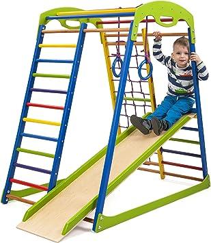 Centro de Actividades con tobogán Sportwood, Red de Escalada, Anillos, Escalera Sueco, Campo de Juego Infantil: Amazon.es: Juguetes y juegos