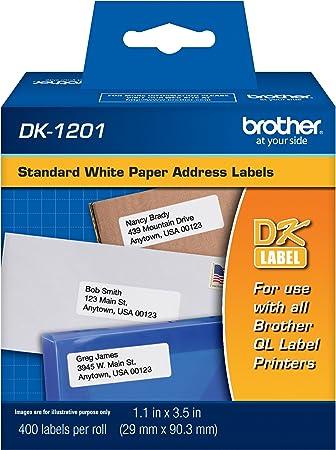 Fits QL-700 QL-710W GENUINE Brother DK1201 White Address Labels 400 Labels
