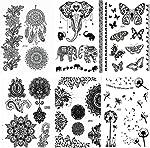 Pinkiou Henna Tattoo Stickers Lace Mehndi Temporary Tattoos for Maverick Women
