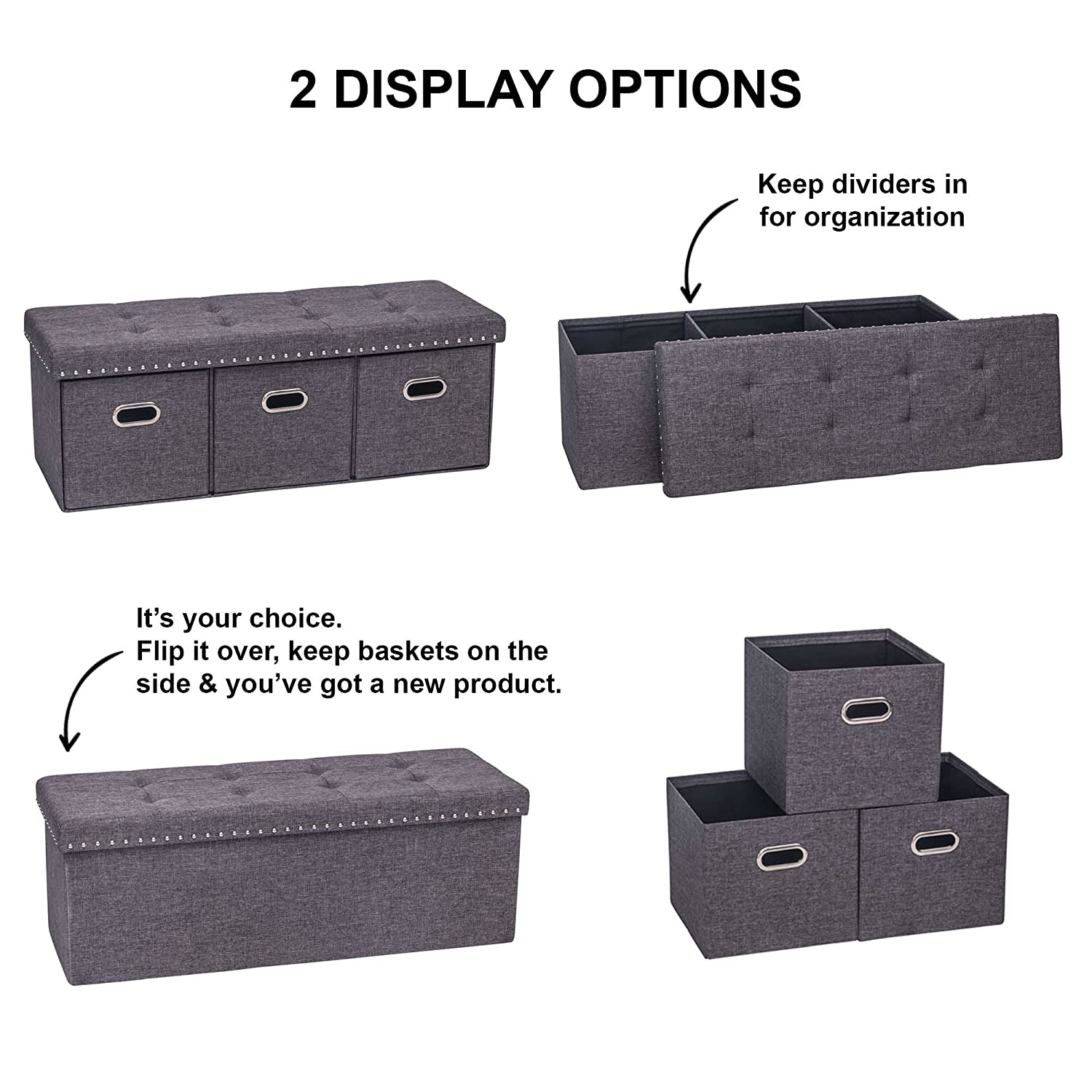 Nathan James Payton Foldable Ottoman Entry Bench and Foot Rest Dark Gray Nathan Home 72202