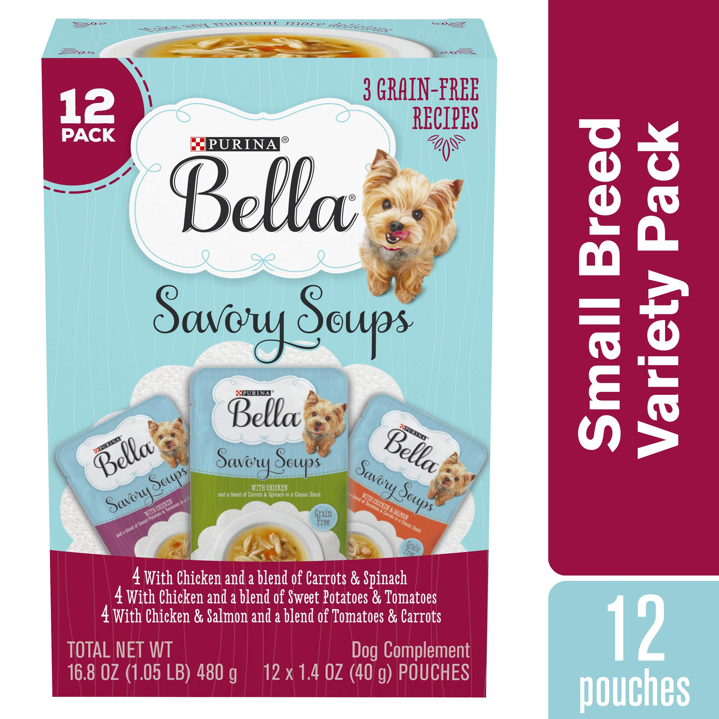 Purina Bella Grain Free Small Breed Wet Dog Food Complement Variety Pack, Savory Soups - (12) 1.4 oz. Pouches by Purina Bella