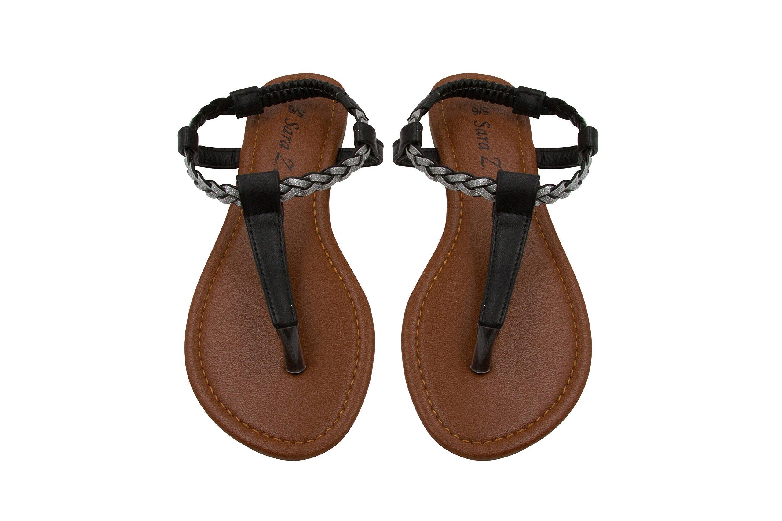 Sara Z Womens T Strap Size Thong Sandal Glitter Braid Ankle Strap Size 5/6 Black/Silver