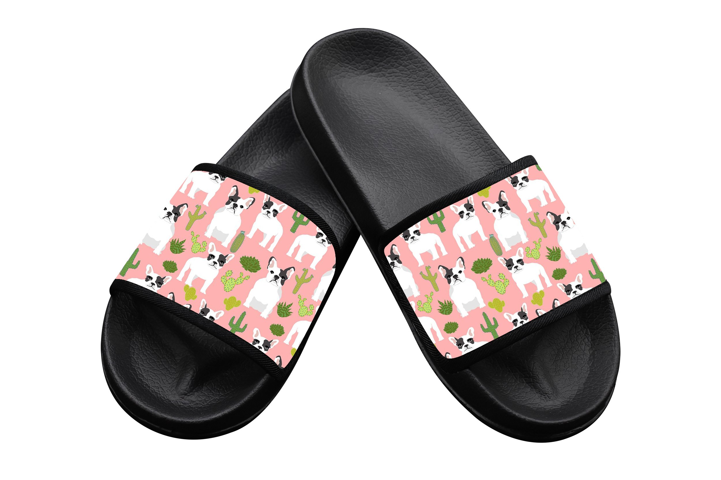 French Bulldog Cactus Summer Slippers Pool Slider Sandals for Kids Indoor & Outdoor 3 B(M) US Big kid