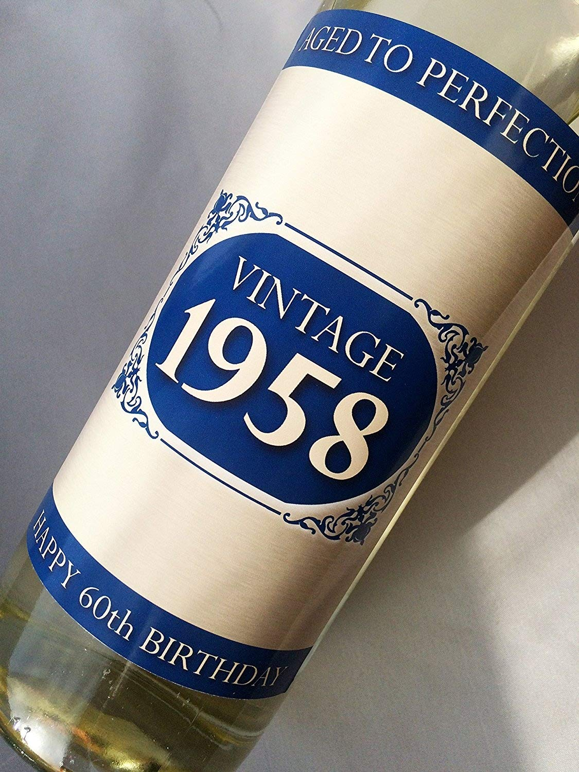 1958 Vintage Blue Happy 60th Birthday 2018 Wine Bottle Label Gift for Women and Men Purple Products