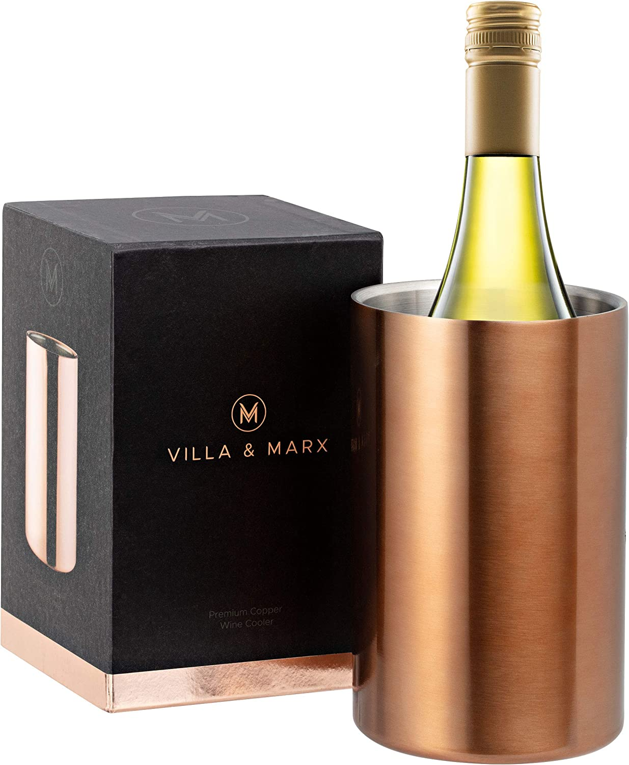 Villa & Marx Wine Chiller - Elegant Champagne Bucket with Copper Finish - Insulated Wine Bottle Cooler Without Ice - Double Walled Wine Chiller Bucket, Fits And Cools All Bottles
