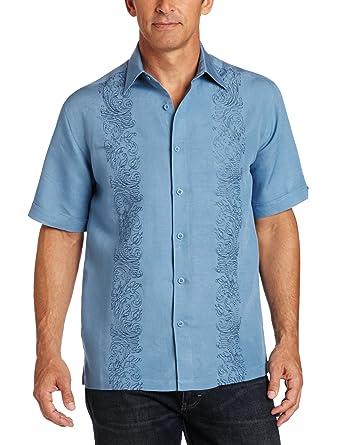 6aba1f26f Cubavera Men's Big-Tall Short Sleeve Ornate Embroidery Panel Shirt, Blue  Heaven, 2XLT