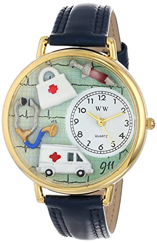 Whimsical Watches Unisex G0620024 EMT Navy Blue Leather Watch