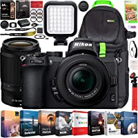 Nikon Z50 Mirrorless Camera Body 4K UHD DX-Format 2 Lens Kit NIKKOR Z DX 16-50mm F3.5-6.3 VR + Z DX 50-250mm F4.5-6.3 VR Bundle Deco Gear Backpack + Photo Video LED + Filters + Software & Accessories
