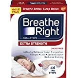Breathe Right Extra Strength Tan Nasal Strips, Nasal Congestion Relief due to Colds & Allergies, Reduces Nasal Snoring caused