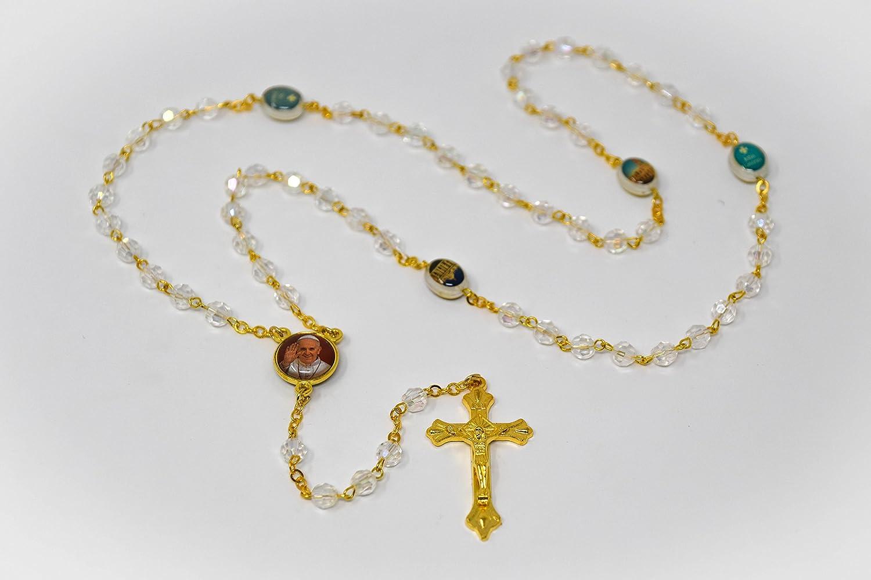 Rosario con cuentas de cristal de Papa Francisco y caja de rosario ...