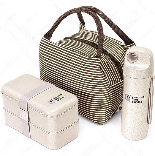 antigoteo y sin BPA, para ni/ños y Adultos, Incluye Cubiertos, Botella de Agua y una Bolsa Llena de Estilo Caja para Almuerzo Quantum Lunch Box