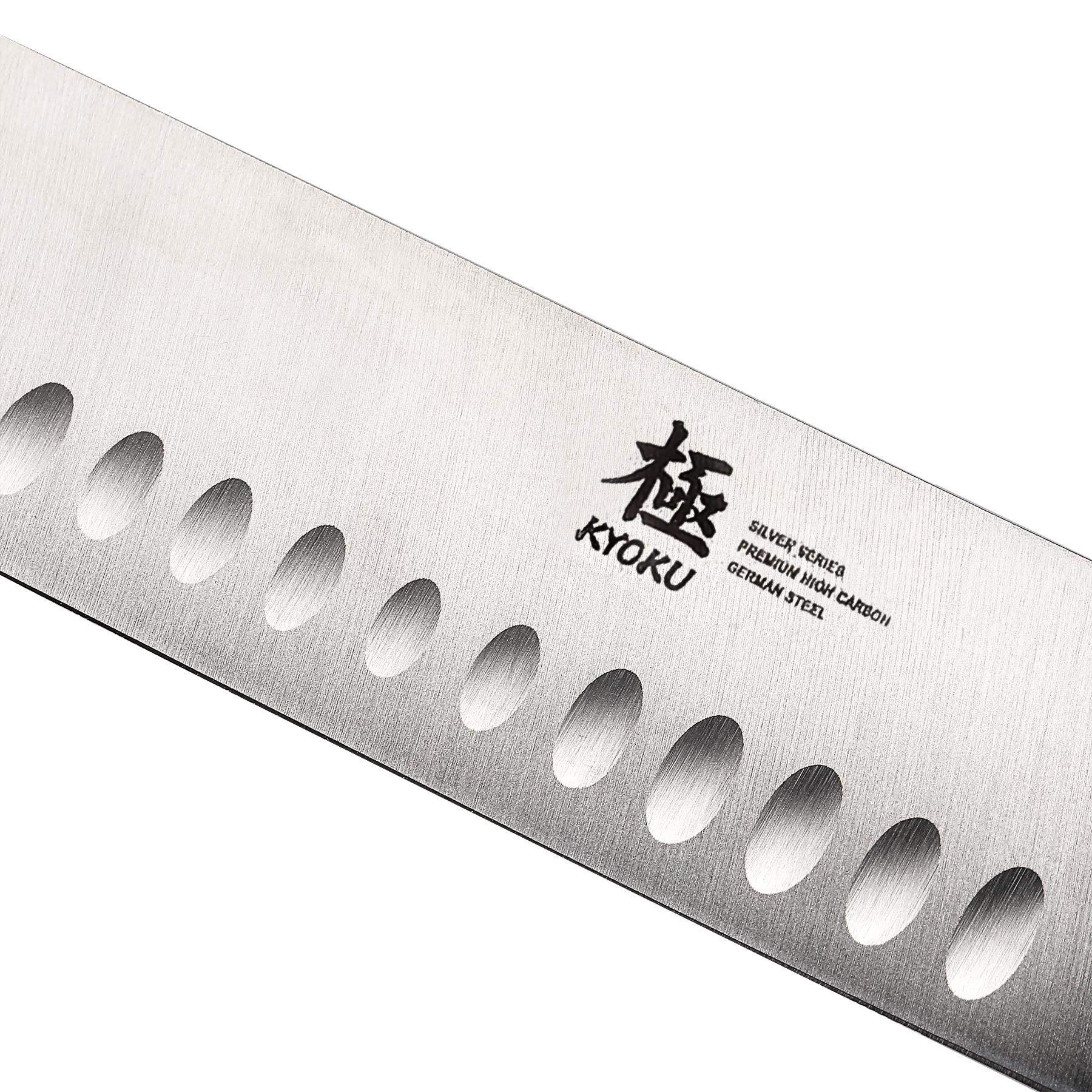 KYOKU Samurai Series - Nakiri Japanese Vegetable Knife 7'' with Sheath & Case - Full Tang - Japanese High Carbon Steel - Pakkawood Handle with Mosaic Pin by KYOKU (Image #8)