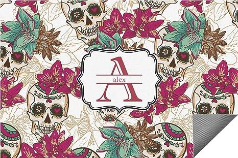 Amazon.com: Calaveras de azúcar y flores alfombra interior ...