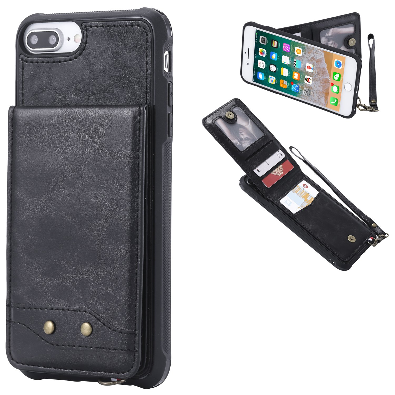 DAMONDY iPhone 7 Plus,iPhone 8 Plus, Luxury Wallet Purse Card Holders Design Cover Soft Shockproof Bumper Flip Leather Kickstand Magnetic Clasp With Wrist Strap Case for iPhone 8 Plus/7 Plus-black