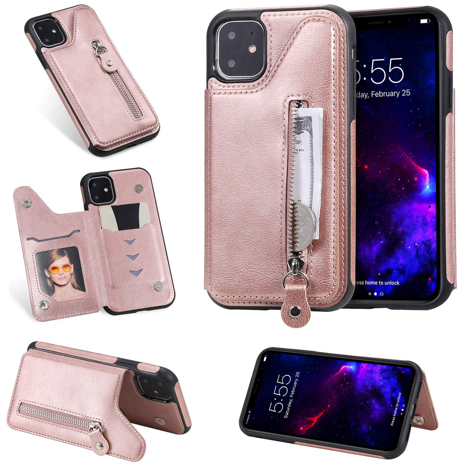 Tznzxm iPhone 11 6.1 inch Case, Luxury Zipper PU Leather Kickstand Card Slots Double Magnetic Clasp Durable Shockproof Soft TPU Back Wallet Flip Cover for iPhone 6.1 inch (2019) Rose Gold by Tznzxm