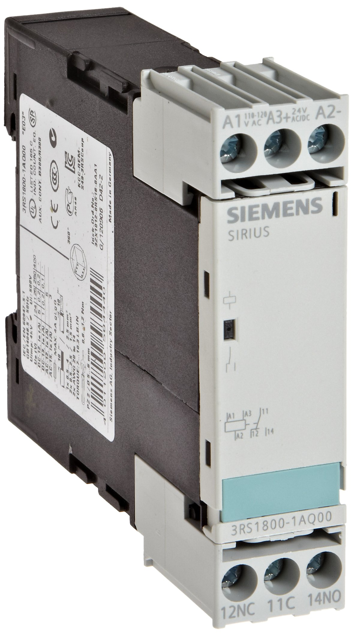 Siemens 3RS18 00-1AQ00 Interface Relay, Rugged Industrial Enclosure, Screw Terminal, 22.5mm Width, 1 CO Contacts, 24VAC/VDC and 110-120VAC Control Supply Voltage