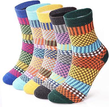 ElifeAcc 5 Pares Mujeres Tejer de invierno Espesar Calcetines de algodón cálido Calcetines térmicos Patrones variados Reino Unido 4-6.5 UE 35-39 (Estilo vintage 4): Amazon.es: Ropa y accesorios