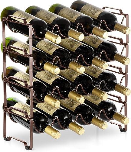 Auledio 4 Tiers Stackable Metal Wine Rack