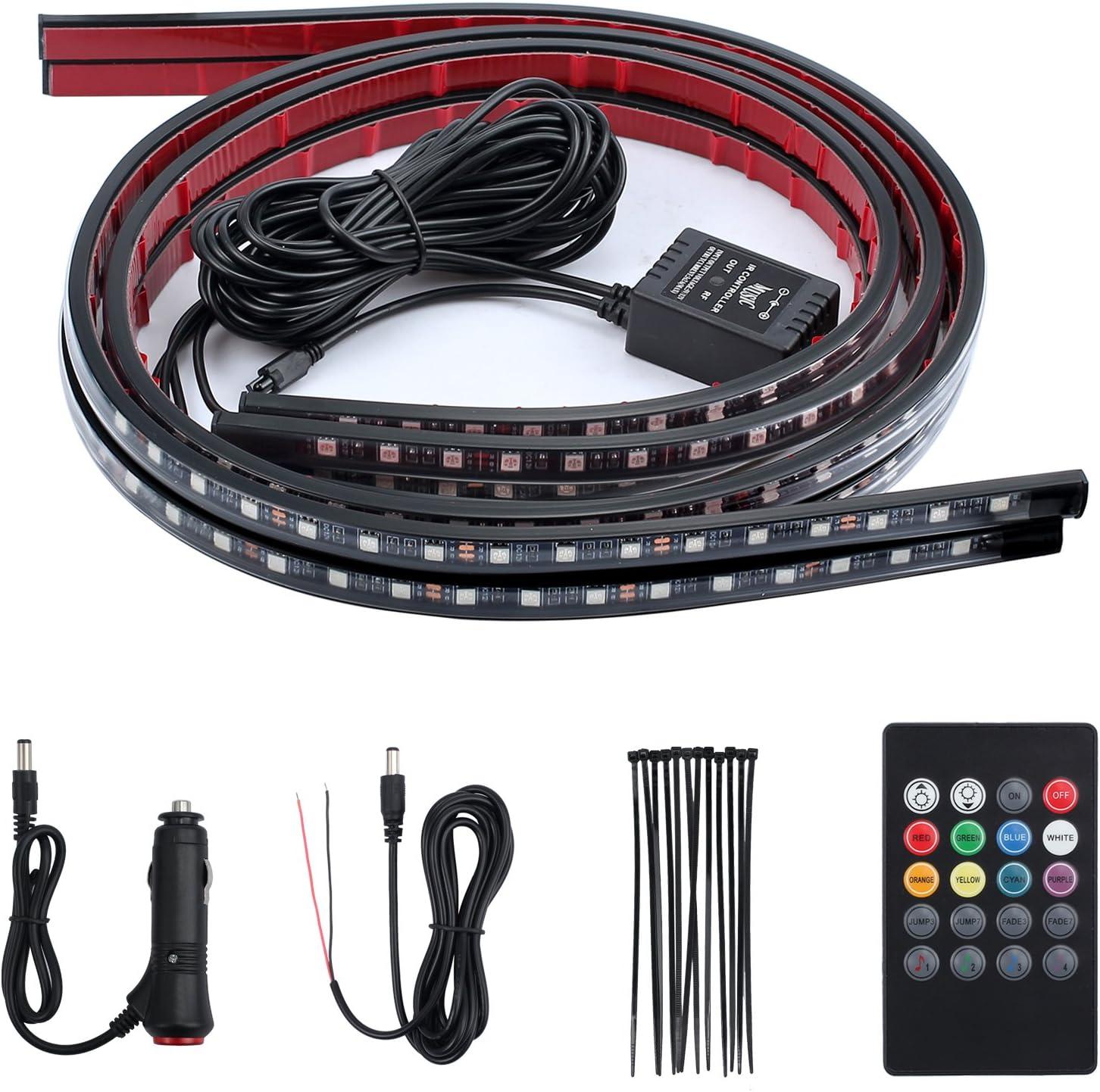 Underbody Lighting Kit 12V RGB LED Neon Strip Lights Wireless Remote,5050 SMD Multi Color Atmosphere Light Sound Active Justech Car Underglow Lights