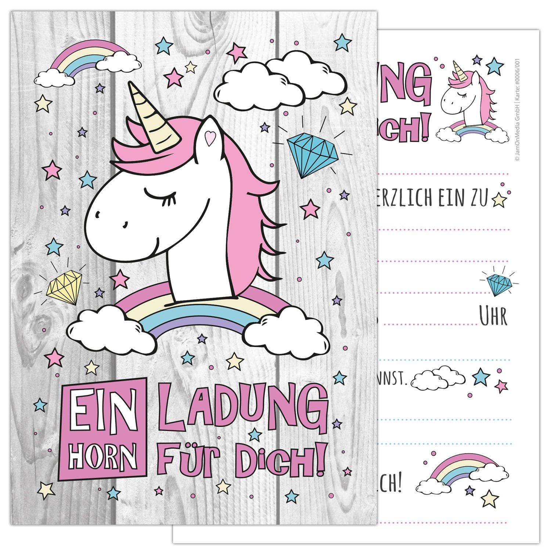 12 Tarjetas de unicornio con un bonito y adorable unicornio, arcoiris y nubes, invitaciones de cumpleaños para la fiesta de cumpleaños en rosa y pastel suave, perfecto para niñas