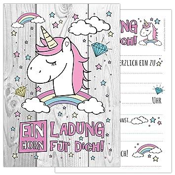 12 Er Kartenset Unicorn Mit Einem Niedlichen Sussen Einhorn