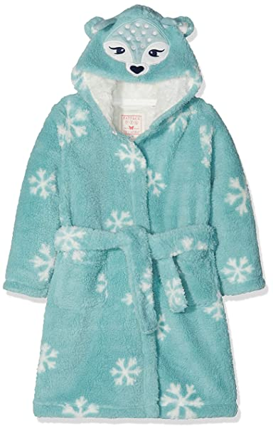 Fat Face Darcy Deer Fleece, Bata para Niñas, Blue (Pretty Aqua BLU)
