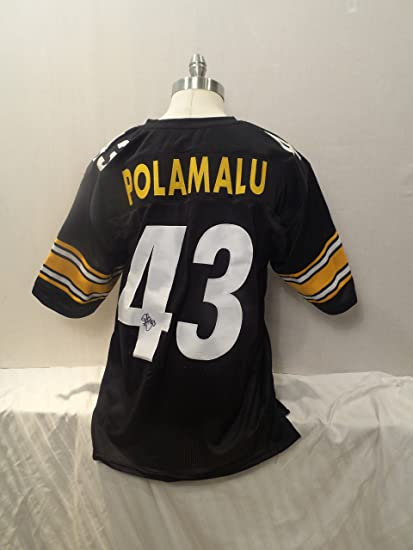 551263a44a6 Troy Polamalu Signed Pittsburgh Steelers Black Autographed Jersey Novelty  Custom Jersey