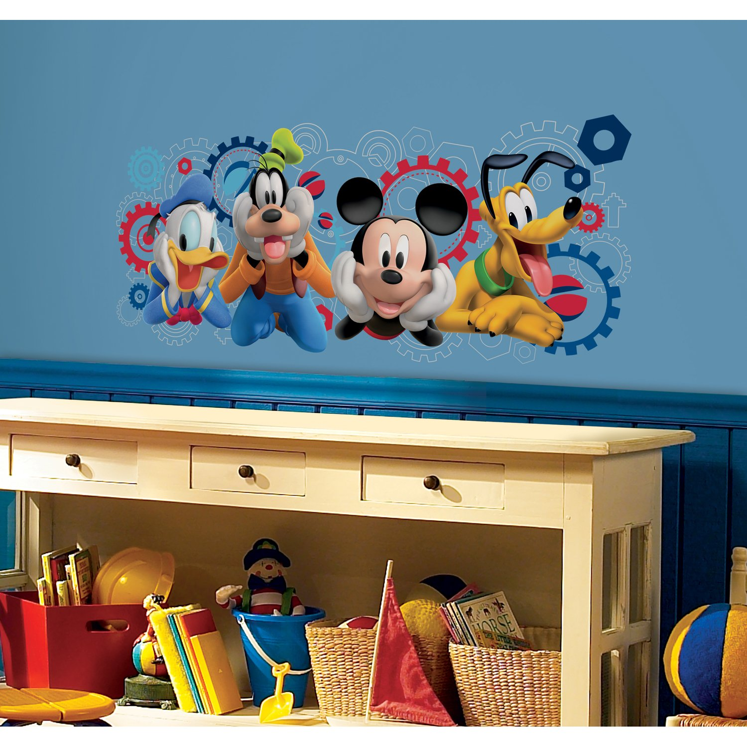 Amazon roommates rmk2561gm mickey and friends mickey mouse amazon roommates rmk2561gm mickey and friends mickey mouse clubhouse capers peel and stick giant wall decals home improvement amipublicfo Image collections