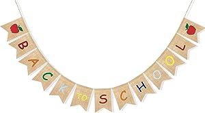 Uniwish Back to School Banner Burlap Apple Sign First Day of School Decorations Garland Classroom Blackboard Hanging Décor