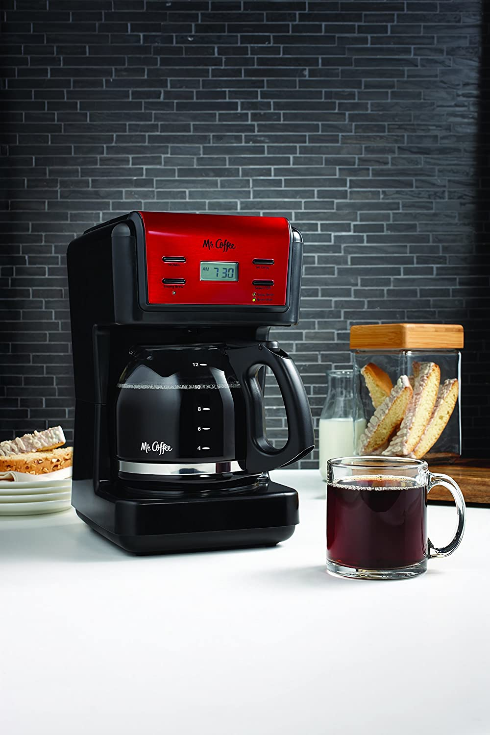 Mr. Coffee Brewing Coffee Maker 12-Cup Programmable, Red BVMC-KNX26