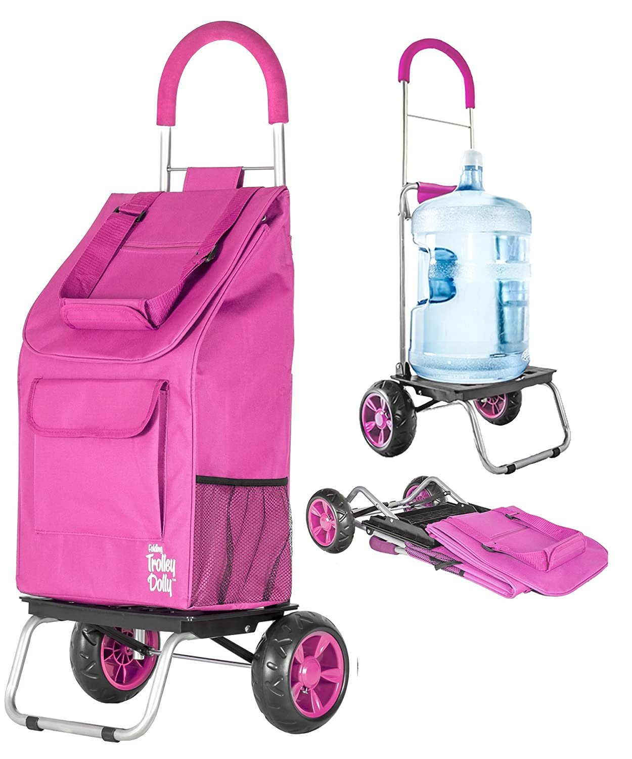 Trolley Dolly, Pink Shopping Grocery Foldable Cart dbest products Inc 01-610