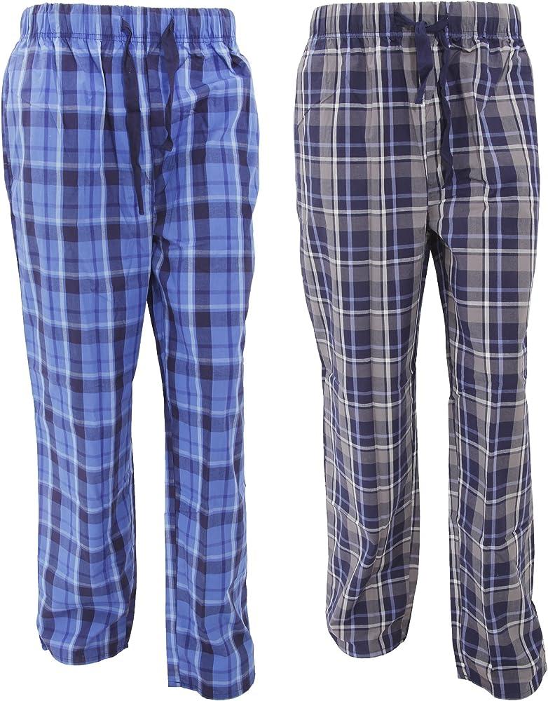Pantalones de pijama estampado a cuadros hombre caballero (Pack de 2) (Extra Grande (XL)/Marino/Cuadros multiples): Amazon.es: Ropa y accesorios
