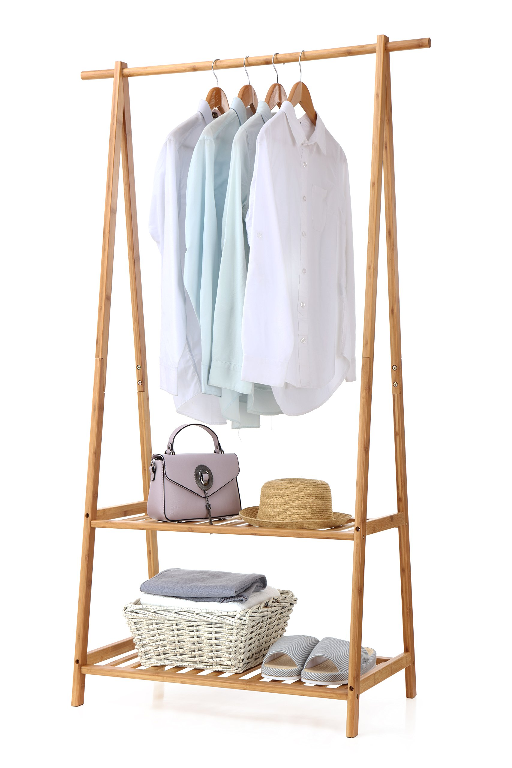 Finnhomy Bamboo Clothes Rack Portable Extra Large Garment Rack 2-Tire Storage Box Shelves for Entryway and Bed Room Patented Design