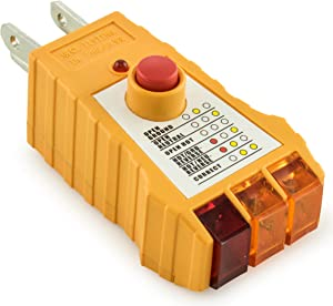 Bastex Socket Tester with GFCI check. Receptacle Tester for Standard AC Outlets. Includes 7 Visual Indications and Wiring Legend. Automatic Electric Circuit Polarity Voltage Detector Breaker Finder