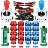 EG STARTS 2 Player LED Arcade DIY Parts 2X USB Encoder + 2X Ellipse Oval Style Joystick + 20x LED Arcade Buttons for PC…