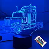 FULLOSUN Truck 3D Bedside Lamp, Lorry Illusion Hologram Night Light 16 Colors Changing with Remote Control Kids Bedroom Décor