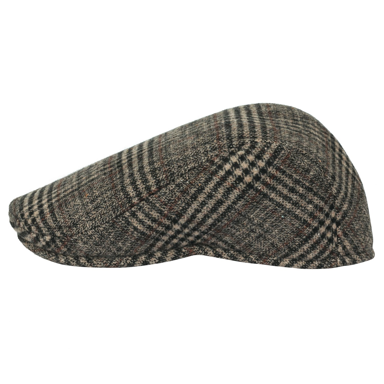 9d7964a2 Howel's Glen Plaid Wool Vintage Irish Newsboy Cap Duckbill Flat Hunting Hat,  Beige/Black at Amazon Men's Clothing store: