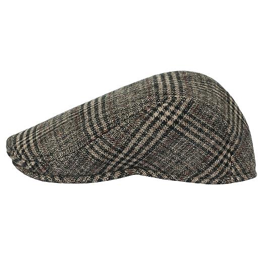 4635d175 Howels Glen Plaid Wool Vintage Irish Newsboy Cap Duckbill Flat Hunting Hat,  Beige/Black: Amazon.co.uk: Clothing