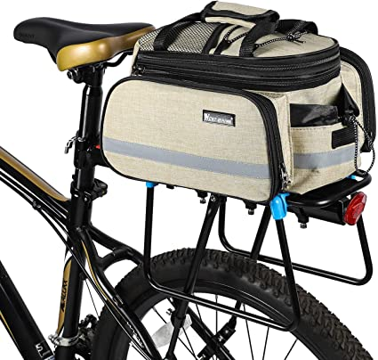 Black Bike Pannier Bag Practical Bicycle Rear Seat Trunk Handbag Expandable Excursion Cycling Carrying Luggage with Reflective Stripe Rainproof Cover